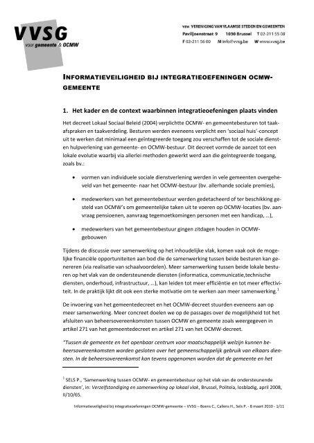 Informatieveiligheid bij integratieoefeningen OCMW-GEMEENTE