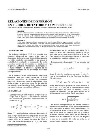 relaciones de dispersión en fluidos rotatorios compresibles