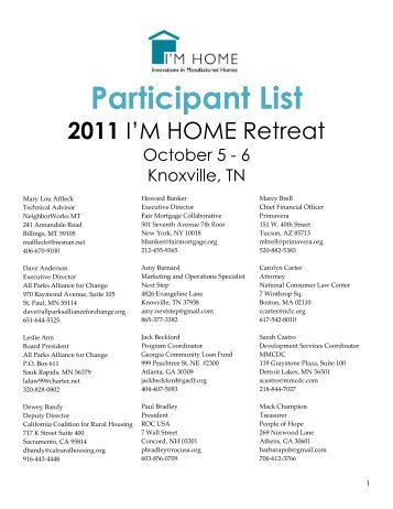 2011 I'M HOME Retreat Participant List - CFED