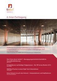 6. tivian Fachtagung - Gesundheit und Folgeprozesse - Aktuelle ...