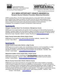 Watershed Education for Pollution Prevention 2012 Opportunity Grants