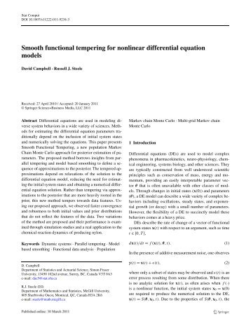 Smooth functional tempering for nonlinear differential equation models