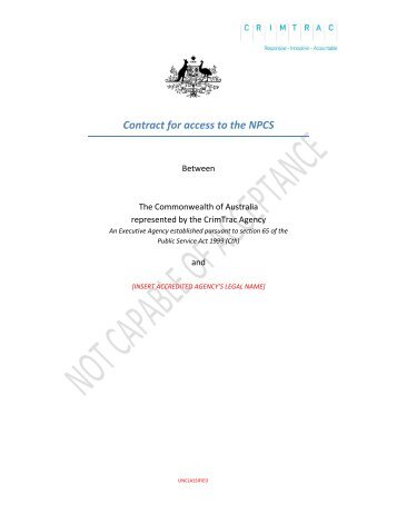 Accredited Agency Contract (Customers) - TEMPLATE - CrimTrac