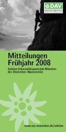 Mitteilungen Frühjahr 2008 - Sektion USC München des DAV
