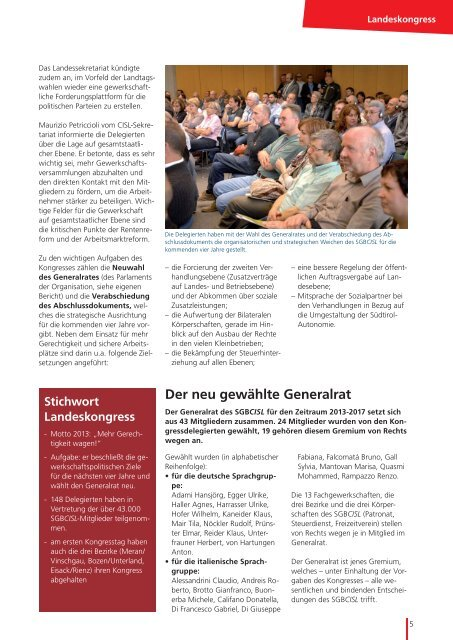 Landeskongress - SGB - CISL