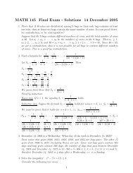 MATH 145 Final Exam - Solutions 14 December 2005