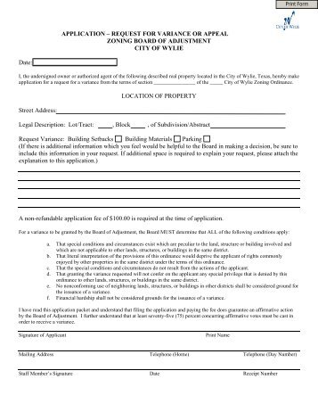 APPLICATION – REQUEST FOR VARIANCE OR ... - City of Wylie