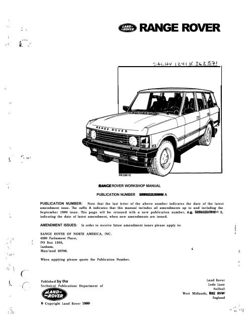 Range Rover Classic (1987) Workshop Manual - smithies.co.nz