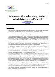 Responsabilité des dirigeants et administrateurs d'ASBL - exposé ...