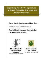 Organising Forestry Co-operatives in British Columbia: The Legal ...