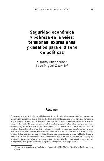 Seguridad económica y pobreza en la vejez: tensiones ... - Cepal