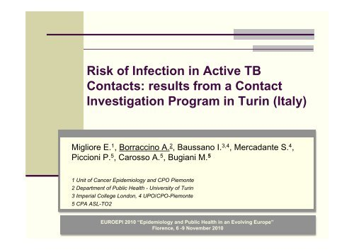 Risk of Infection in Active TB Contacts: results from a Contact ...