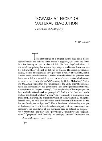 TOWARD A THEORY OF CULTURAL REVOLUTION