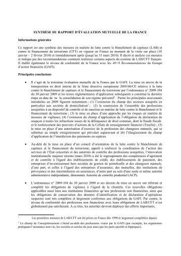 la synthèse du rapport du GAFI sur l'application de la reglementation ...
