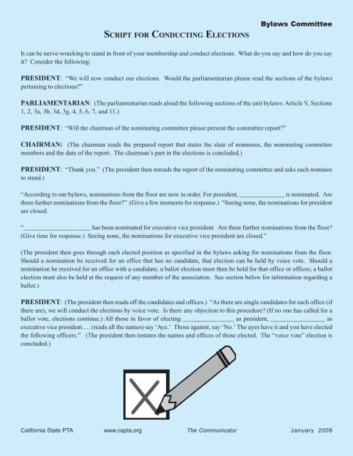 Script for Conducting Elections - The California State PTA