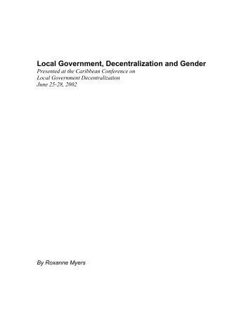 Local Government, Decentralization and Gender