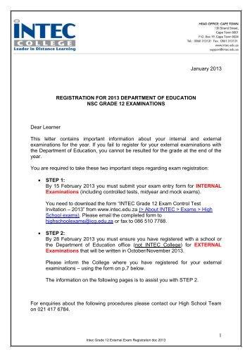 Grade 12 External Exam Registration - INTEC College