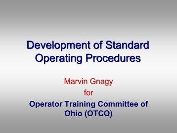 Development of Standard Operating Procedures - Ohiowater.org