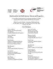 Asia Pacific Gateway Toronto Convening Participant List