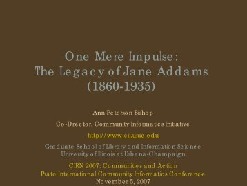 The Legacy of Jane Addams - CCNR