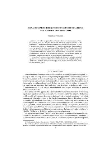 NONAUTONOMOUS BIFURCATION OF BOUNDED SOLUTIONS III ...
