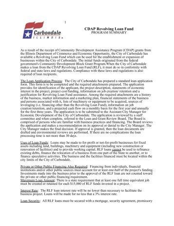 CDAP Revolving Loan Fund - Carbondale, IL
