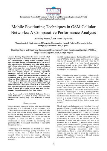 Mobile Positioning Techniques in GSM Cellular Networks: A ...