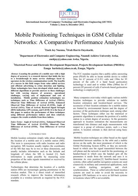 Mobile Positioning Techniques in GSM Cellular Networks: A