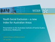 Youth Social Exclusion – a new index for Australian Areas - NATSEM