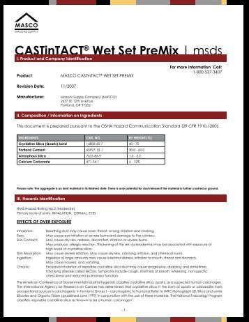 CASTinTACT Wet Set PreMix - MSDS - masco.net