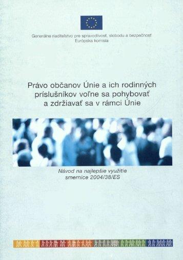 Právo občanov Únie a ich rodinných príslušníkov voľne sa ...
