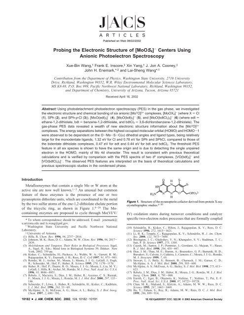 Probing the Electronic Structure of [MoOS4] - Chemistry Department ...