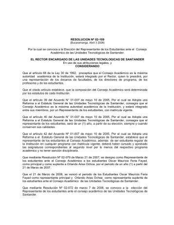 Resolucion convocatoria.pdf - Unidades Tecnológicas de Santander ...
