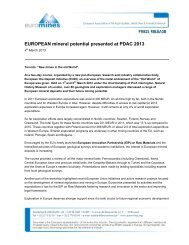 Euromines Press Release 4 March 2013