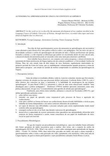 autonomia na aprendizagem de língua no contexto ... - Celsul.org.br