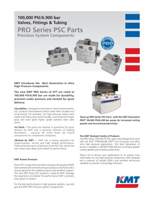 PRO Series PSC Parts - KMT Waterjet Systems