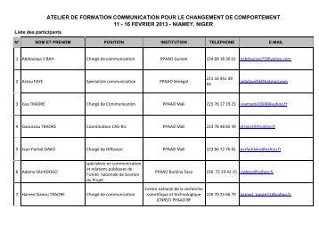 Liste des participants - eRails