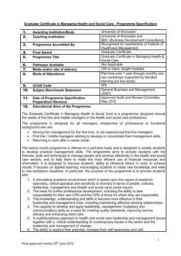 Graduate Certificate in Managing Health and Social Care ...