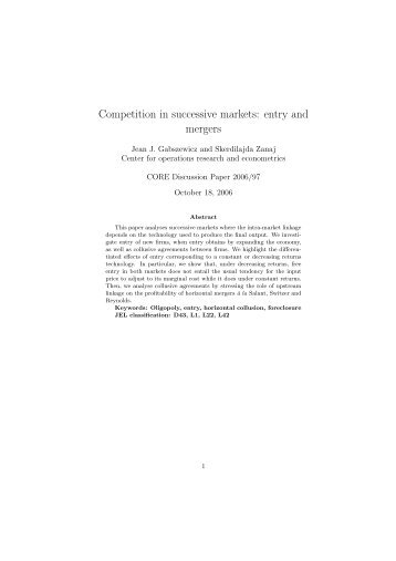 Competition in successive markets: entry and mergers - DSEMS