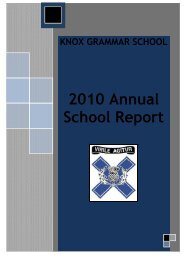 2010 Annual School Report - Knox Grammar School