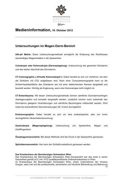 Untersuchungen im Magen-Darm-Bereich - Krankenhaus der ...