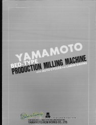 Yamamoto Bed Type Milling Machine Brochure - Sterling Machinery