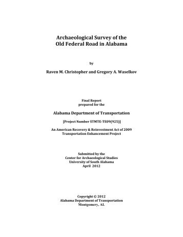 Archaeological Survey of the Old Federal Road in Alabama