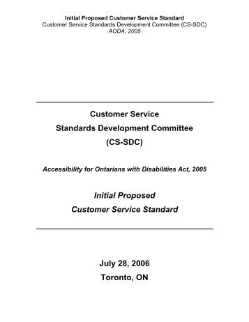 Customer Service Standards Development Committee (CS ... - OPSBA