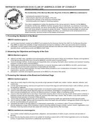 COC - PDF - Bernese Mountain Dog Club of America