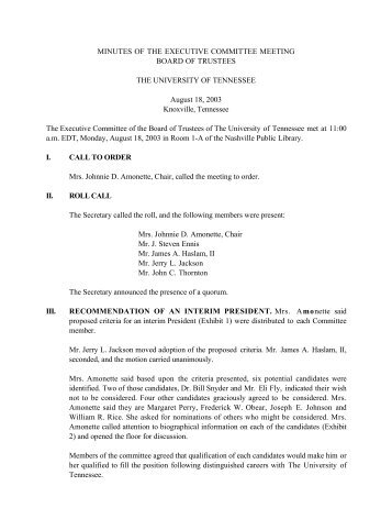 MINUTES OF THE EXECUTIVE COMMITTEE ... - Board of Trustees