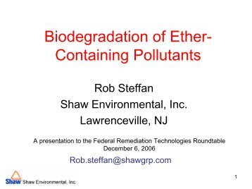 Biodegradation of Ether-Containing Pollutants - Federal ...