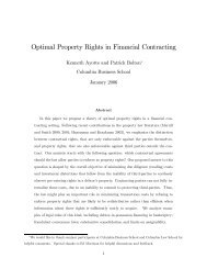 Optimal Property Rights in Financial Contracting - University of ...