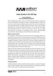 Audio Quality in the DVD Age - Wolfson Microelectronics plc