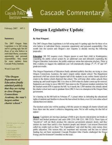 Oregon Legislative Update - Cascade Policy Institute